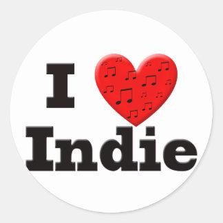 I Love Indie Round Stickers