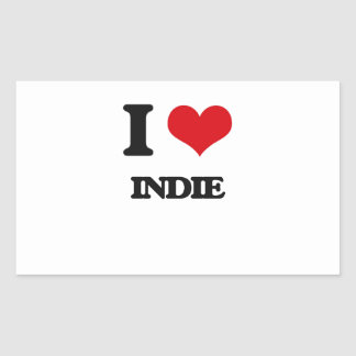 I Love INDIE Rectangle Stickers