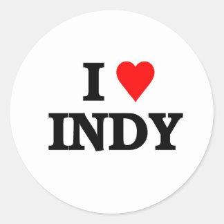 I love Indy Round Stickers