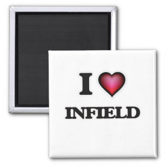 I Love Infield Square Magnet