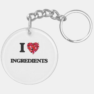 I Love Ingredients Double-Sided Round Acrylic Key Ring