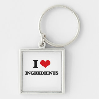 I Love Ingredients Silver-Colored Square Key Ring