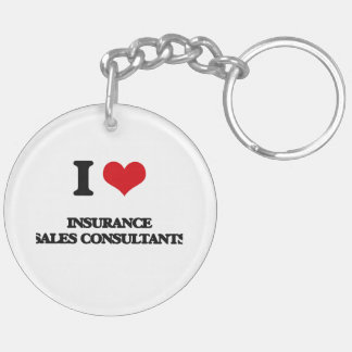 I love Insurance Sales Consultants Keychain