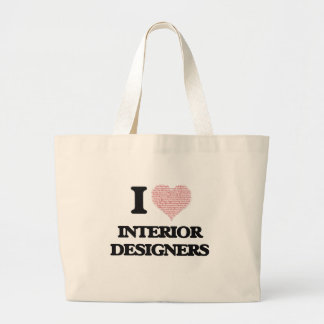 I love Interior Designers (Heart made from words) Jumbo Tote Bag