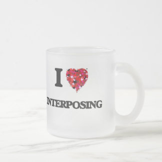 I Love Interposing Frosted Glass Mug