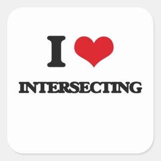 I Love Intersecting Square Sticker