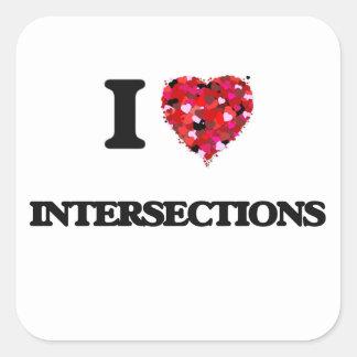 I Love Intersections Square Sticker