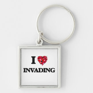 I Love Invading Silver-Colored Square Key Ring