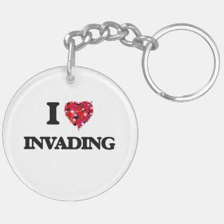 I Love Invading Double-Sided Round Acrylic Key Ring
