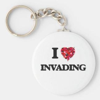 I Love Invading Basic Round Button Key Ring