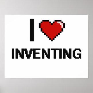 I Love Inventing Digital Retro Design Poster
