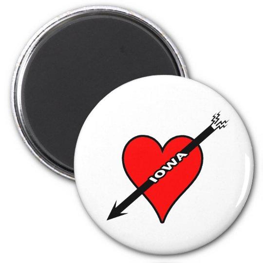 I Love Iowa Heart Magnet