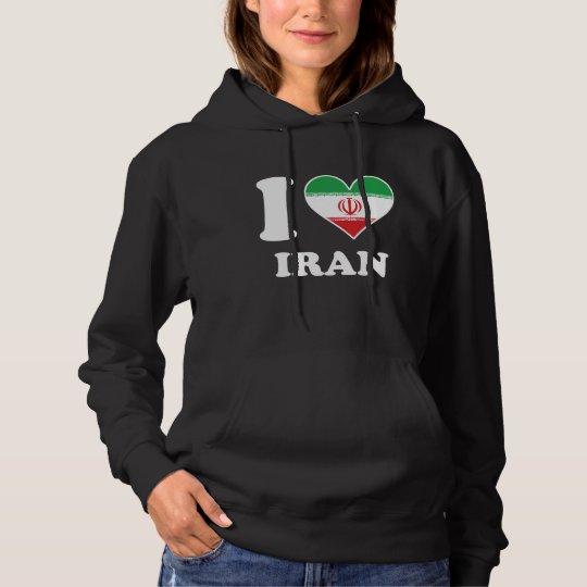 I Love Iran Iranian Flag Heart Hoodie