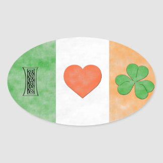 I Love Ireland Oval Sticker