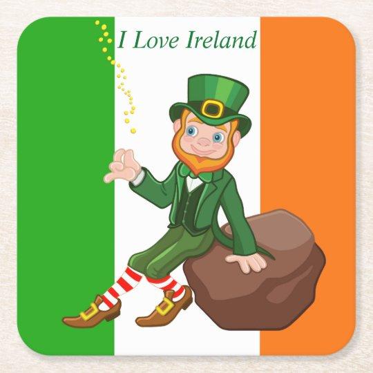 I Love Ireland Square Paper Coaster