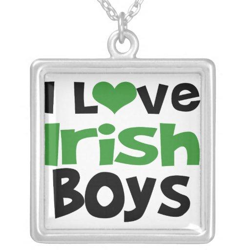 I Love Irish Boys Square Pendant Necklace