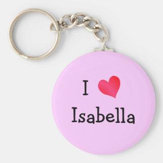 I Love Isabella Basic Round Button Key Ring