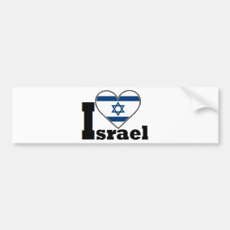 I Love Israel - with large Flag of Israel heart Bumper Stickers
