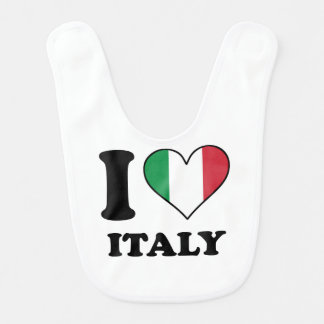 I Love Italy Italian Flag Heart Bib