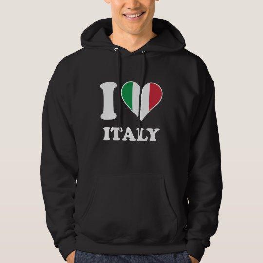 I Love Italy Italian Flag Heart Hoodie