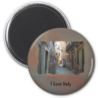 I Love Italy - Italian Side Street 6 Cm Round Magnet