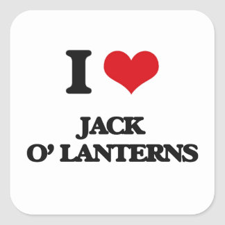 I Love Jack O' Lanterns Square Sticker