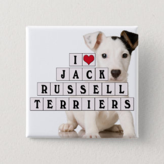 I LOVE JACK RUSSELL TERRIERS - BLOCKS 15 CM SQUARE BADGE