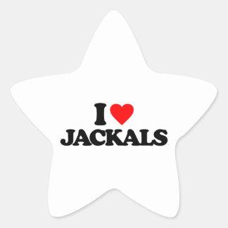I LOVE JACKALS STAR STICKER