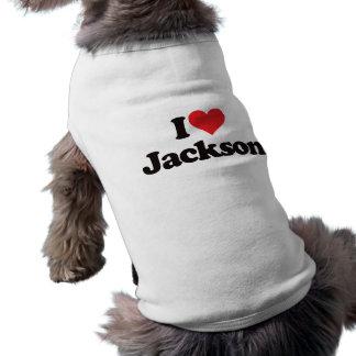 I Love Jackson Sleeveless Dog Shirt