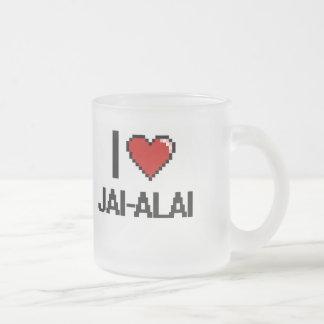 I Love Jai-Alai Digital Retro Design 10 Oz Frosted Glass Coffee Mug