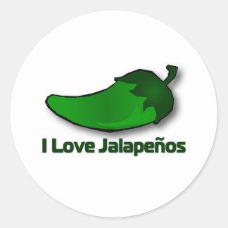 I Love Jalapenos Classic Round Sticker