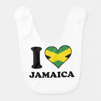 I Love Jamaica Jamaican Flag Heart Bib