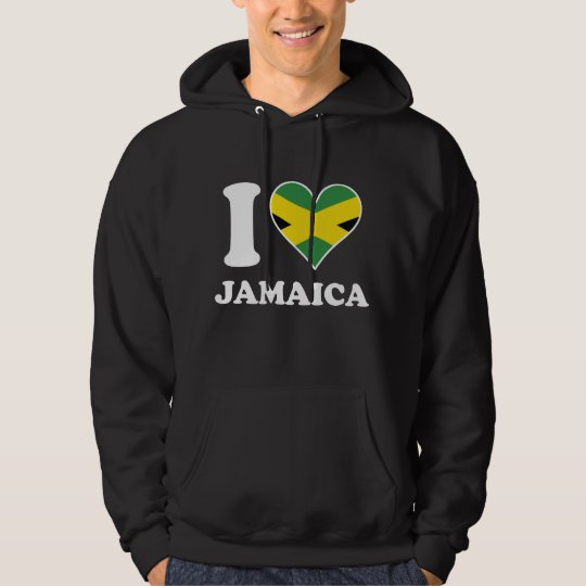 I Love Jamaica Jamaican Flag Heart Hoodie