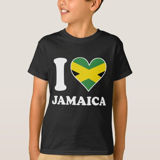 I Love Jamaica Jamaican Flag Heart T-Shirt