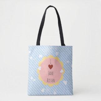 I Love Jane Austen Blue Pattern Tote Bag