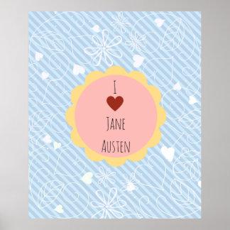 I Love Jane Austen Blue Poster