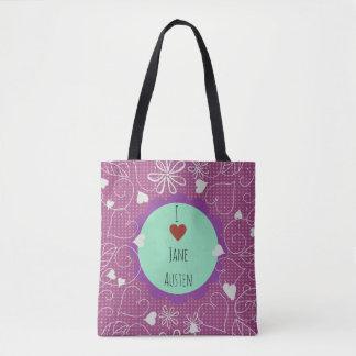 I Love Jane Austen dark pink pattern Tote Bag