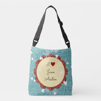 I Love Jane Austen Green Pattern Crossbody Bag