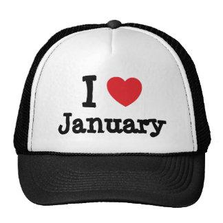 I love January heart T-Shirt Mesh Hats