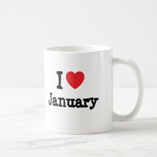 I love January heart T-Shirt Coffee Mug