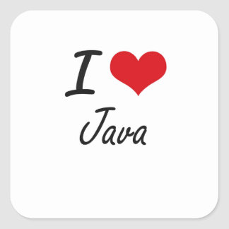 I Love Java artistic design Square Sticker