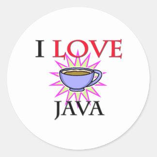I Love Java Round Sticker