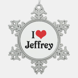 I Love Jeffrey Snowflake Pewter Christmas Ornament