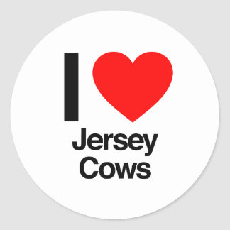 i love jersey cows round sticker