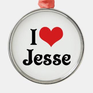 I Love Jesse Silver-Colored Round Decoration