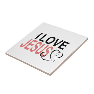 I Love Jesus Small Square Tile
