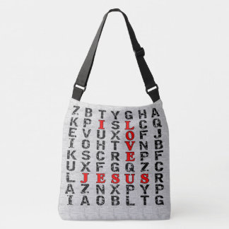 I Love Jesus Word Search Style Christian Crossbody Bag