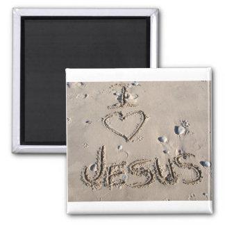 I love Jesus written in sand Magnet