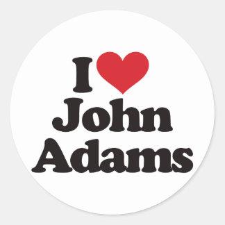 I Love John Adams Round Sticker