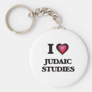 I Love Judaic Studies Basic Round Button Key Ring